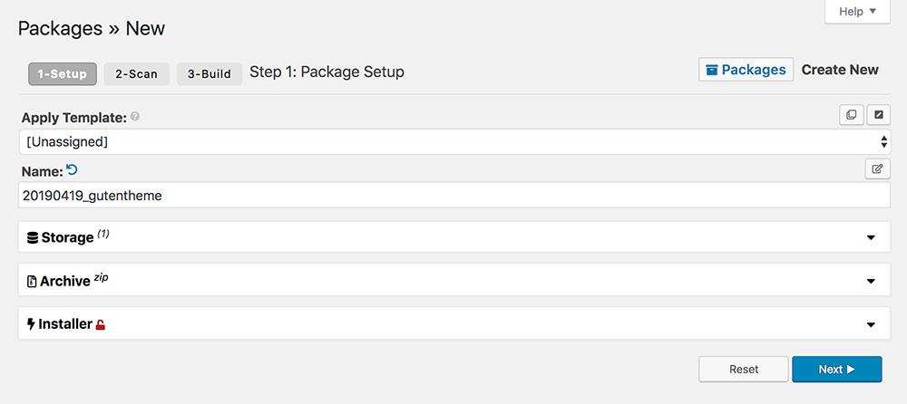 Duplicator Pro - Packages Setup