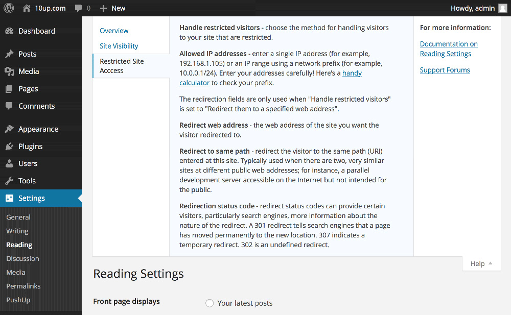 WordPress - Reading Settings - Help
