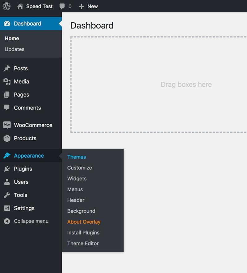 Install WordPress theme - Overlay
