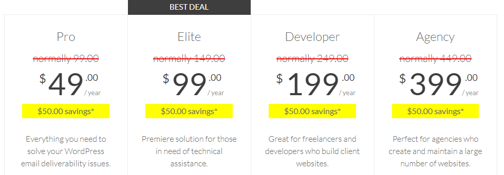 With the WP Mail SMTP plugin, you get four well-priced packages that are tailored to every WordPress email requirement.