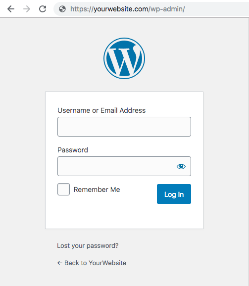 How to build a website with WordPress -  2020 free guide: WordPress login page