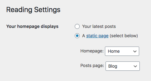 Setting a WordPress static home page and new blog posts page for your WordPress website.