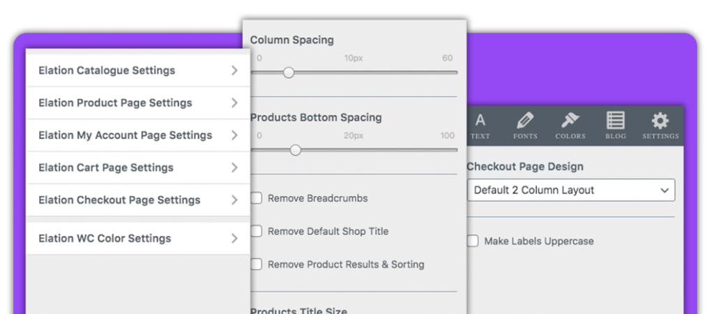 Elation WooCommerce Settings