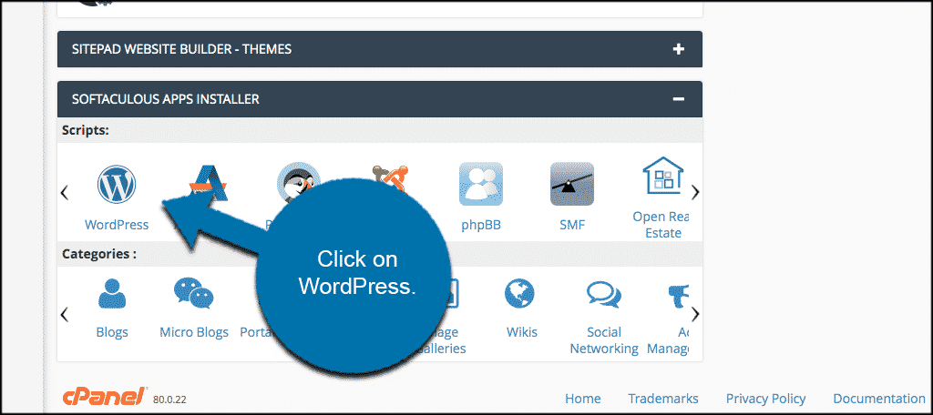 Softaculous Apps WordPresss Installer